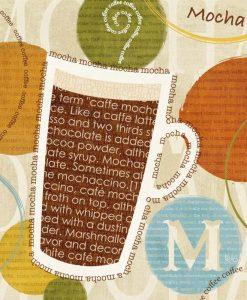Composizione grafica con tazza di caffè e parole