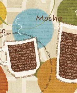 Composizione grafica con tazze di caffè e parole