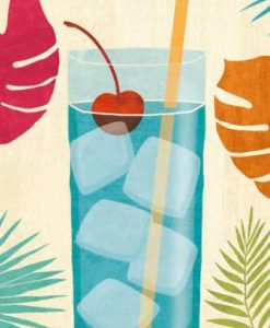 Illustrazione colorata di un cocktail blue lagoon
