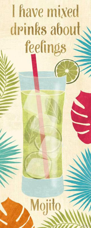 Illustrazione colorata di un cocktail mojito