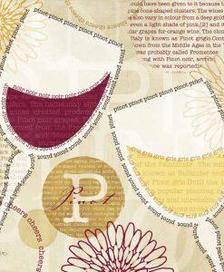 Composizione grafica: parole che disegnano due bicchieri di vino