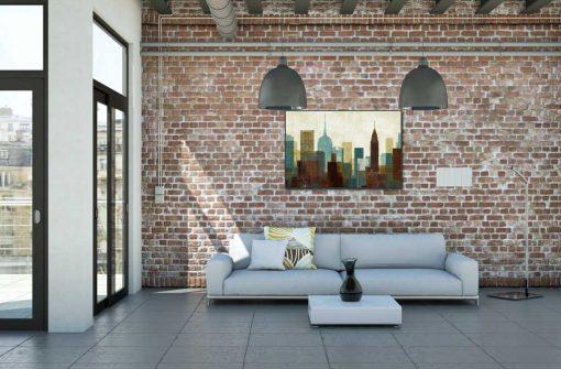 Dipinto con grattacieli colorati stilizzati