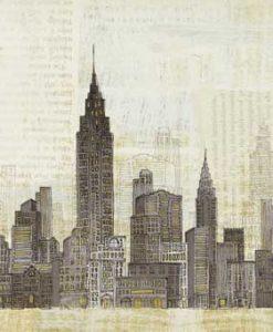 Fumetto su carta di giornale del profilo di New York