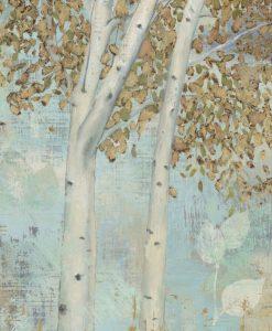 Delicato dipinto di betulle dorate