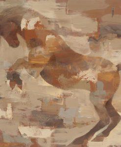 Ritratto di un cavallo rampante con sfumature marroni