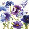Acquerello di un mix di fiori di campo dai toni viola
