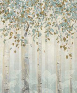 Dipinto di un bosco di betulle dai toni delicati