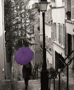 Ombrello viola per le strade di Parigi