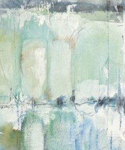 Dipinto con sfumature di acquerello turchese e bianco