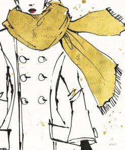 Disegno di un cappotto indossato da una modella con dettagli oro