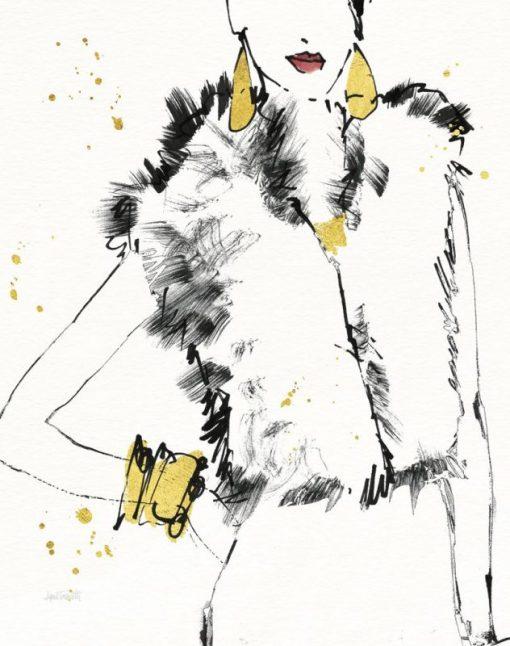 Disegno di un smanicato in pelliccia indossato da una modella con dettagli oro