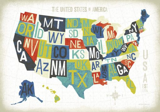 Cartina degli Stati Unito con i nomi dei vari stati