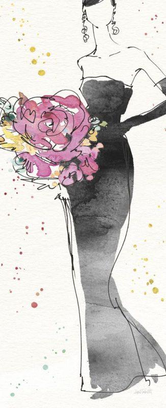 Disegno di una donna con vestito nero decorato con fiori