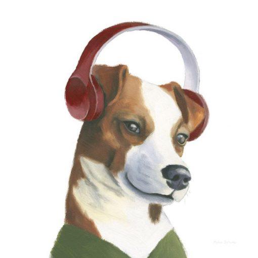 Ritratto di un jack russel con cuffie per la musica