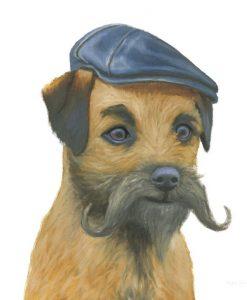 Ritratto di uno yorkshire con baffi e cappello