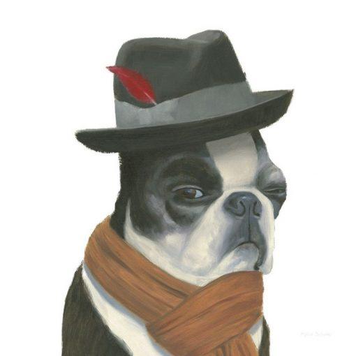 Ritratto di un french bulldog con sciarpa e cappello