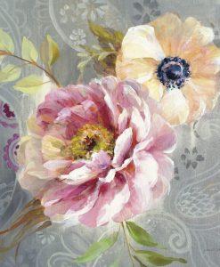 Peonia e papavero dai toni rosa in stile vintage