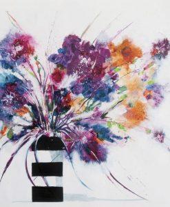 Vaso a strisce con fiori variopinti effetto sfumatura
