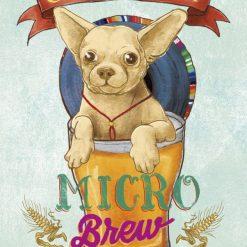 Illustrazione di un chihuahua in un bicchiere di birra