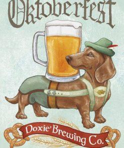 Illustrazione di un bassotto con birra e costume da oktoberfest