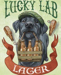 Illustrazione di un labrador nero che regge una cassetta di birra