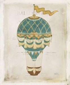 Illustrazione rétro di una mongolfiera