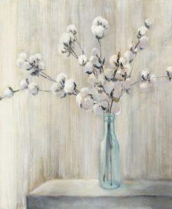 Dipinto di rami fioriti di pianta di cotone in una bottiglia