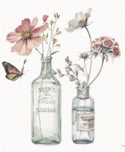 Acquerello di mazzi di fiori in bottiglie di vetro