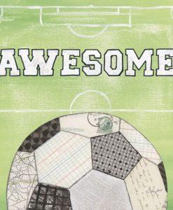 Illustrazione con palla da calcio e messaggio