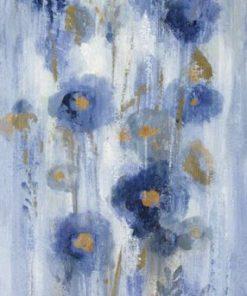 Dipinto con fiori blu con effetto vissuto
