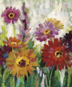 Dipinto di un giardino fiorito con margherite colorate