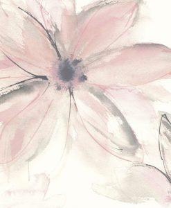 Delicato acquerello di un fiore grigio e rosa