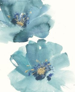 Acquerello di fiori dai petali azzurri