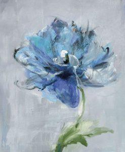 Dipinto di un fiore blu su sfondo grigio chiaro