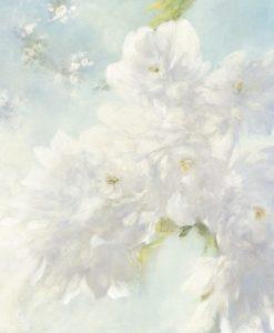 Dipinto di un ramo con luminosi fiori bianchi