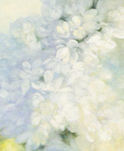 Dipinto di un ramo di luminosi fiori bianchi