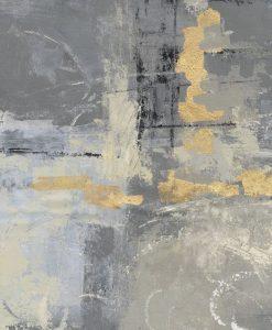 Dipinto luminoso con sfumature grigie e inserti dorati