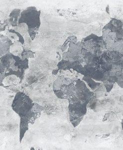 Planisfero dipinto con sfumature grigie