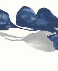 Masse blu e grigie che si incrociano su uno sfondo bianco