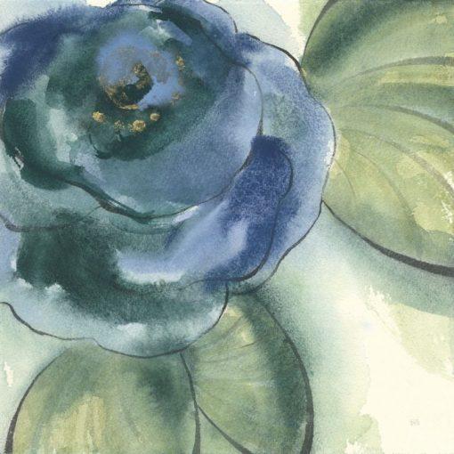 Acquerello di un fiore blu sfumato