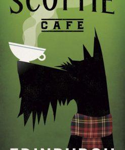 Cane nero con tazza di caffè