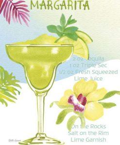 Dipinto variopinto di un cocktail tropicale con la sua ricetta