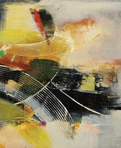 Dipinto con pennellate gialle e nere