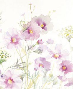 Luminoso acquerello di fiori in un prato