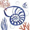 Composizione marina con conchiglia e coralli
