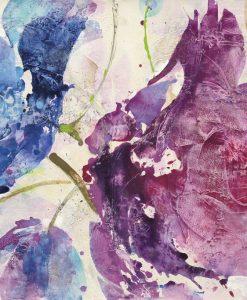 Dipinto astratto con fiori viola e blu