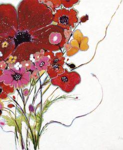 Dipinto di un mazzo di fiori rossi e rosa su sfondo bianco