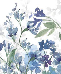 Luminoso acquerello dai toni freddi di fiori in un giardino