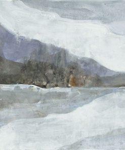 Dipinto luminoso di montagne riflesse in uno specchio d'acqua