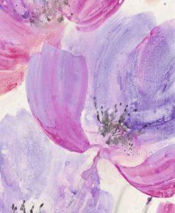 Vivace acquerello di fiori con petali dalle sfumature rosa e viola